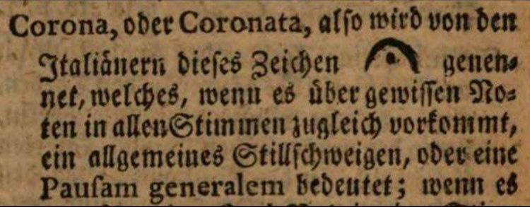 """Eintrag """"Corona"""" im """"Musicalischen Lexikon"""" von 1732 von Johann Gottfried Walther"""